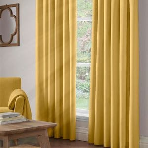 100% Blackout Pencil Pleat Curtains In Ochre