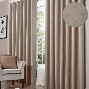 Diamonde Blackout Eyelet Curtains in Mink