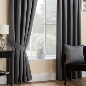 Super Weave Blackout Pencil Pleat Curtains in Dark Grey