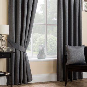 Super Weave Blackout Pencil Pleat Curtains in Dark Grey