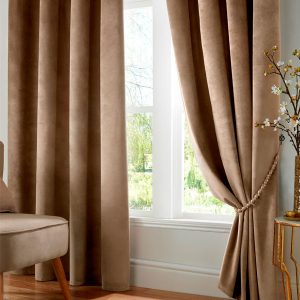 Velveto Blackout Eyelet Curtains in Mink