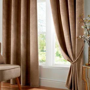 Velveto Blackout Eyelet Curtains in Mink