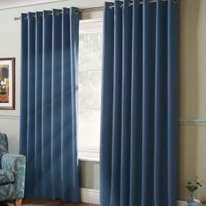 100% Blackout Eyelet Curtains in Blue