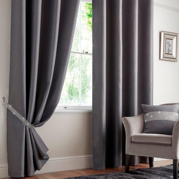 Palacio Blackout Eyelet Curtains in Charcoal