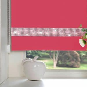 Diamante Roller Blind Fuschia