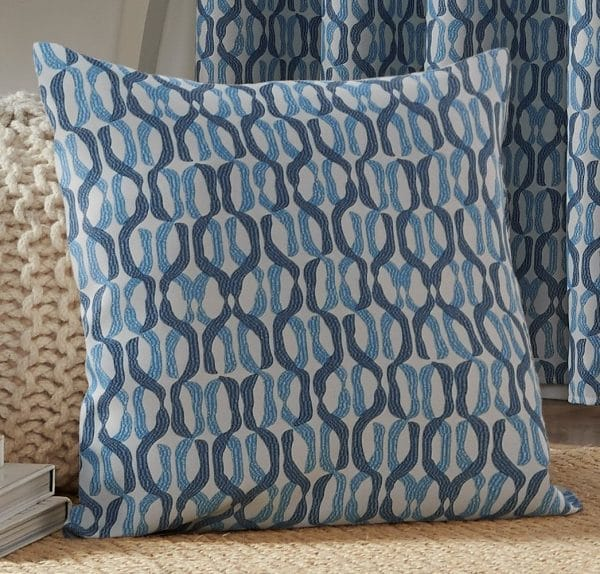 Cambourne Patterned Square Cushion Cover in Blue