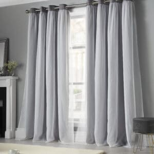 Beckham Silver Blackout Eyelet Curtains